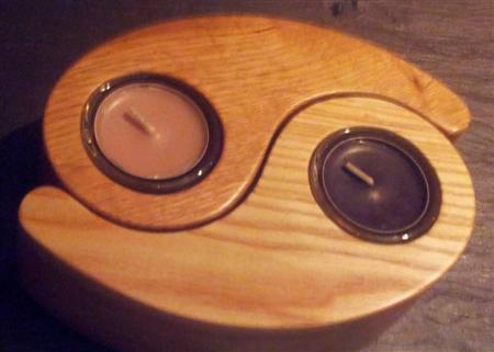 Yin and Yang tea light holders